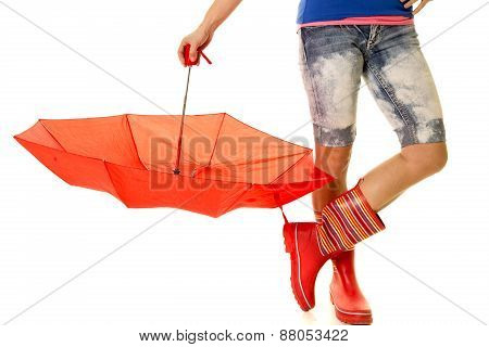 Woman Legs In Rain Boots And Upside Down Umbrella
