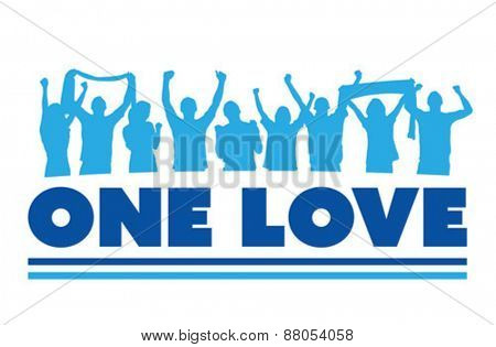 Digitally generated One love with cheering crowd vector