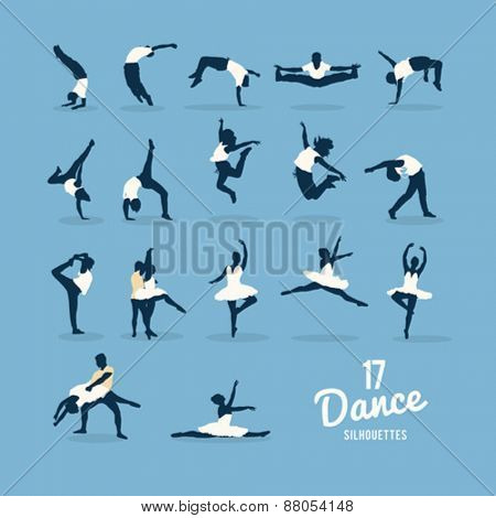 Digitally generated Seventeen dance silhouettes vector