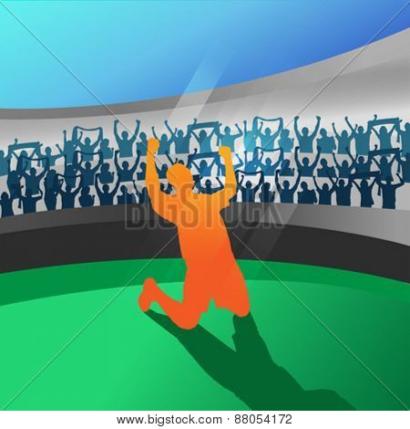 Digitally generated Football player celebrating in stadium vector