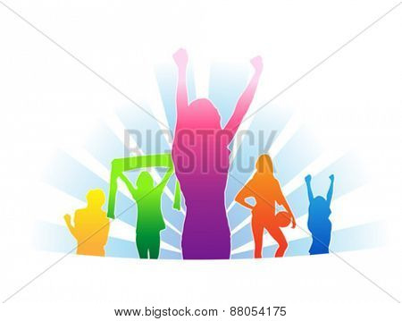 Digitally generated Cheering colourful fans vector