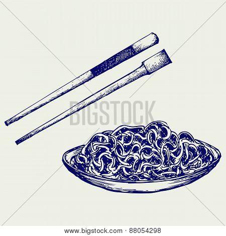 Noodle with chopsticks