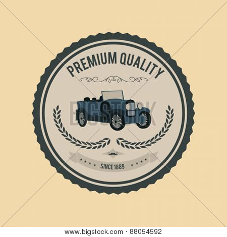 Digitally generated Premium quality badge vector with car