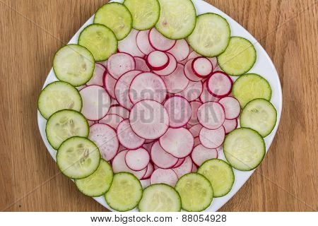 Radishes And Cucumbers On A Plate