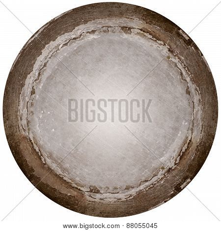 Round aged metal plate