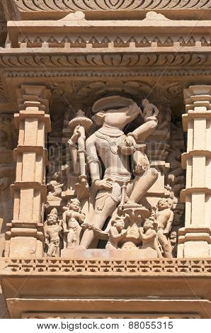 Stone Carved Sculptures Of Deity On Temple. Khajuraho