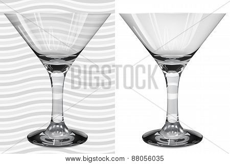 Transparent And Opaque Realistic Martini Glasses