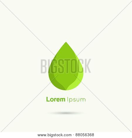 Green Water drop abstract vector