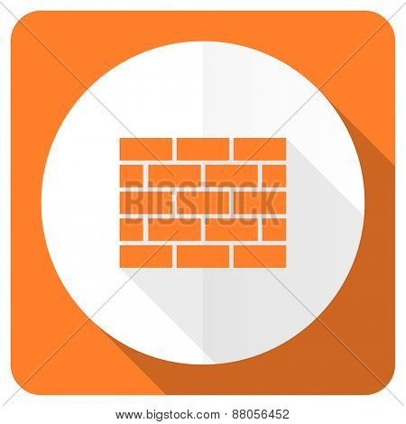 firewall orange flat icon brick wall sign