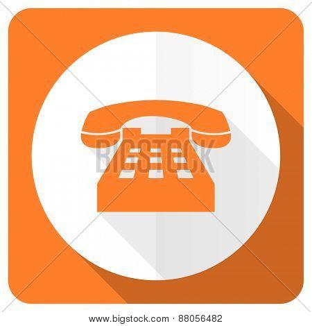 phone orange flat icon telephone sign