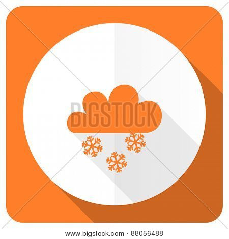 snowing orange flat icon waether forecast sign
