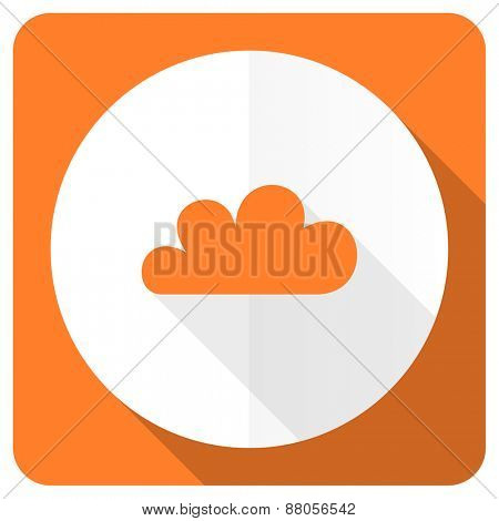 cloud orange flat icon waether forecast sign