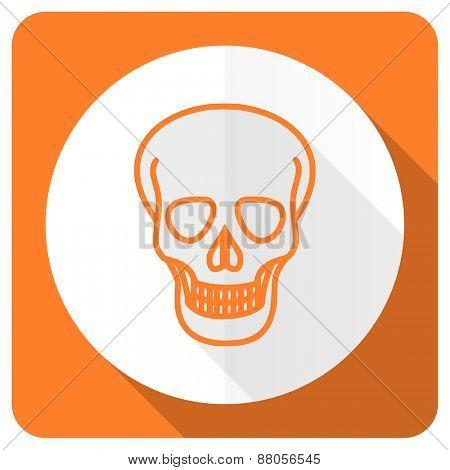 skull orange flat icon death sign