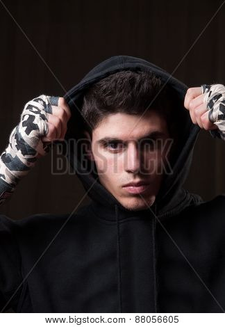 Boxer Man With Hoodie