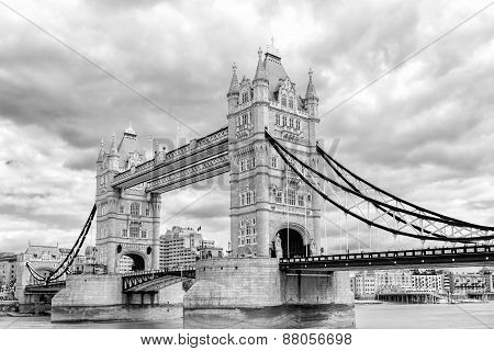 Black And White London Tower Bridge Across The River Thames