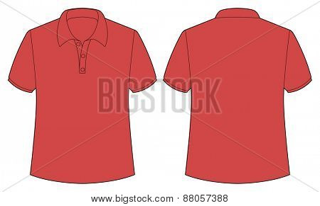 Front and back view of red shirt
