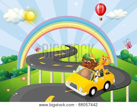 Animals riding convertible car with rainbow background
