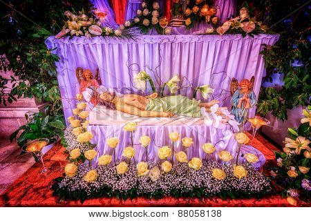 Jesus Christ Lying Dead In Symbolic Grave