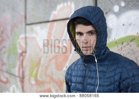 Man Portrait With Hoddie Outdoors