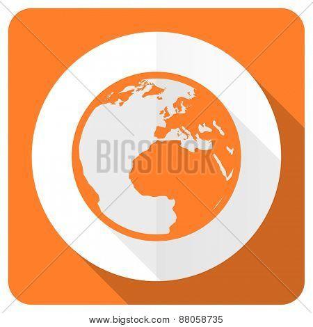 earth orange flat icon world sign
