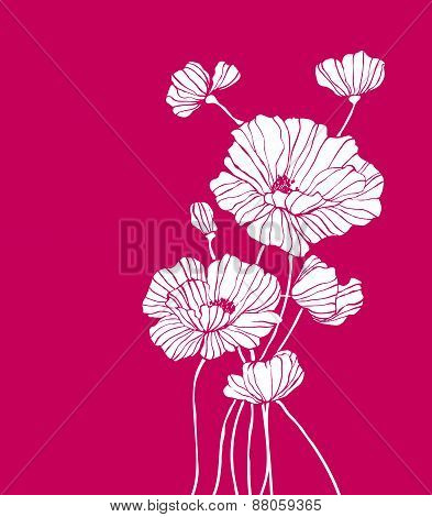 Contour Field Flowers On Burgundy Background Illustration