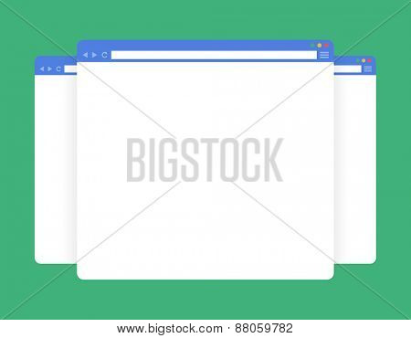Flat blank browser windows. Vector Template for your content