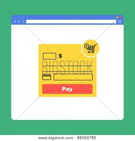 Flat browser window with form payment. Vector illustration