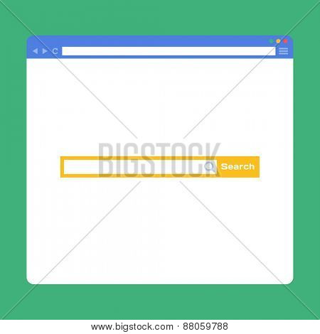 Flat browser window with search bar. Vector illustration
