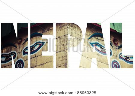 Word Nepal Over National Symbols.