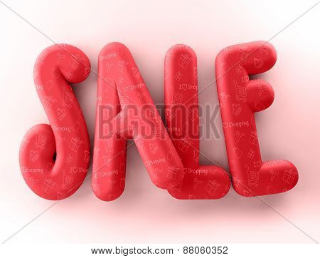 3D Rendered Illustration of Red Sale Word Title in White