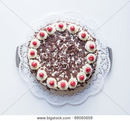Black Forest Cake On A White Background