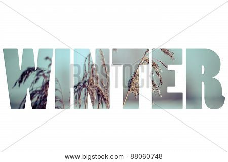 Word Winter Over Traditional Polish Landscape.