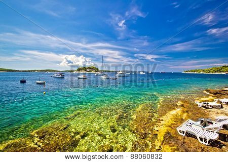 Hvar Island Beach Summer View