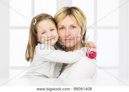 Forty years mother with her five years old  girl