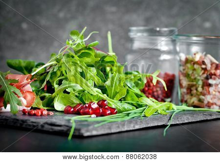 Herbs and spices on a plate of slate