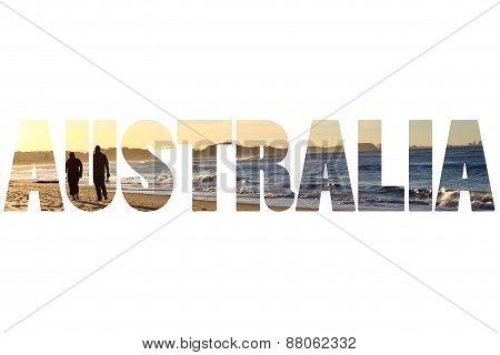 Word Australia Over Paradise Beach.
