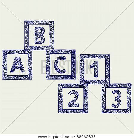 Alphabet cubes with A,B,C letters and numerals