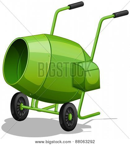 Close up green cement mixer with handles