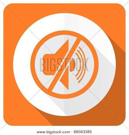 mute orange flat icon silence sign