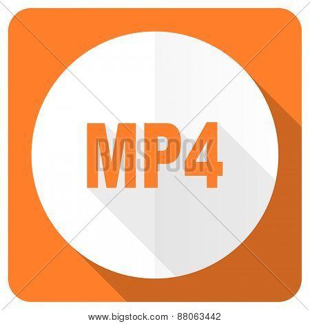 mp4 orange flat icon