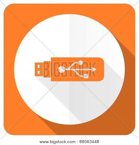 usb orange flat icon flash memory sign