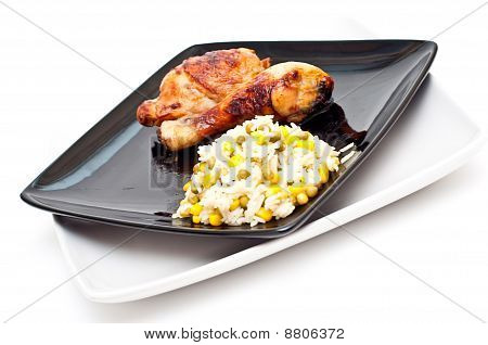 Chicken And Rice Mixed With Peas And Corn Isolated