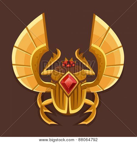 Icon golden scarab. Vector illustration