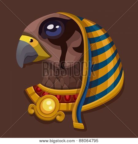 Head symbol of god Ra. Vector illustration