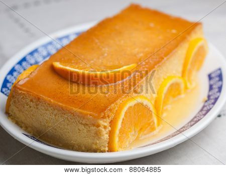 Orange Custard In A Studio Shot.