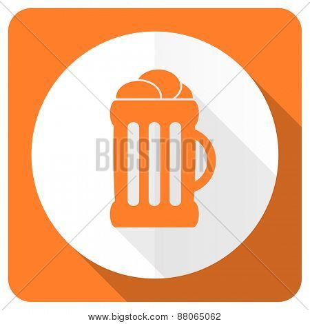 beer orange flat icon mug sign