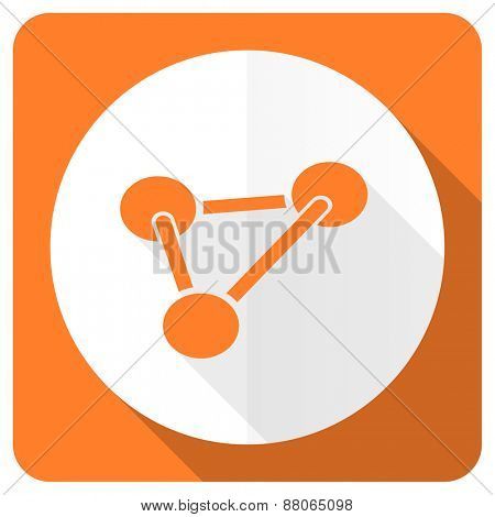 chemistry orange flat icon molecule sign