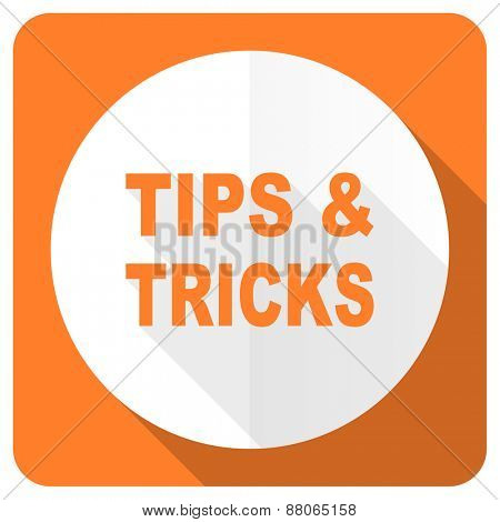 tips tricks orange flat icon