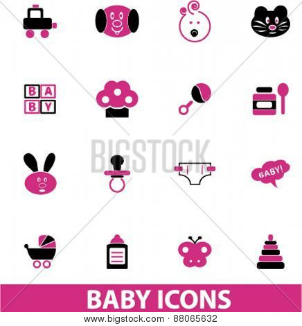 baby, toys icons set, vector