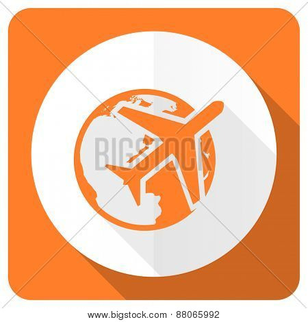 travel orange flat icon